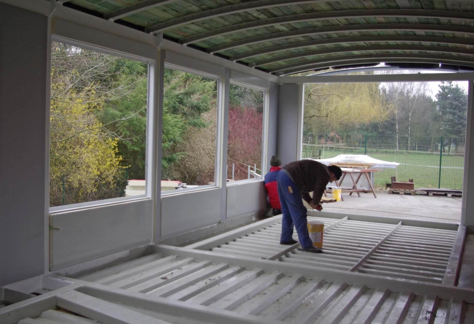Das Obergeschoss wird bei Stahlbau Schwecke in Wechold gebaut